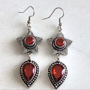 Star Design Sim Garnet Stone Drop Dangle Earrings